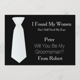 Will You Be My Groomsman white & Black Tie Invitation