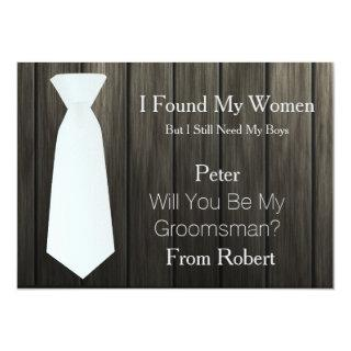 Will You Be My Groomsman white Tie Wooden Invitation