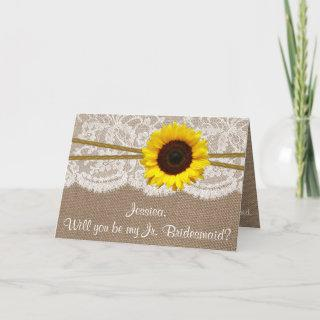 Will You Be My Jr. Bridesmaid? Rustic Sunflower Invitations