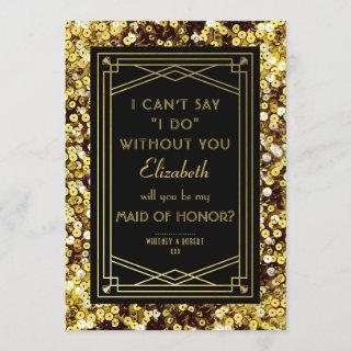 Will You Be My Maid of Honor | 1920s Great Gatsby Invitation