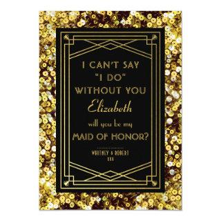 Will You Be My Maid of Honor | 1920s Great Gatsby Invitations