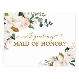 Will You Be My Maid of Honor Blush Pink Floral Postcard
