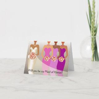 Will you be my Maid of Honor? Bridal Party purple Invitation
