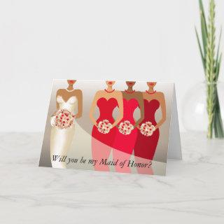 Will you be my Maid of Honor? Bridal Party   red Invitations