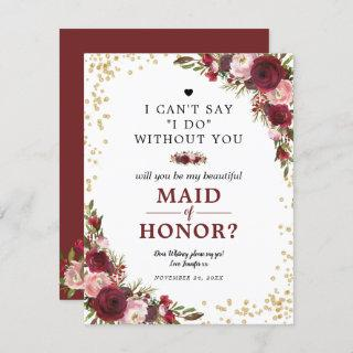 Will you be my Maid of Honor | Burgundy Blush Invitations