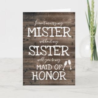 Will You Be My Maid of Honor Card | Rustic Wedding