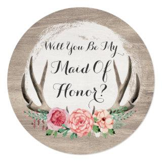 Will You Be My Maid Of Honor? Floral Antler Rustic Invitation