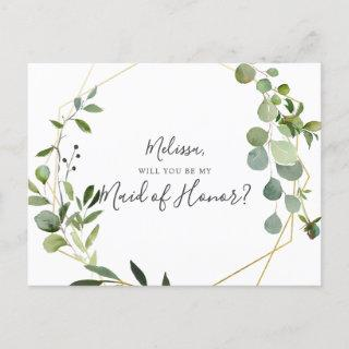 Will You Be My Maid Of Honor Greenery Eucalyptus Invitation Postcard