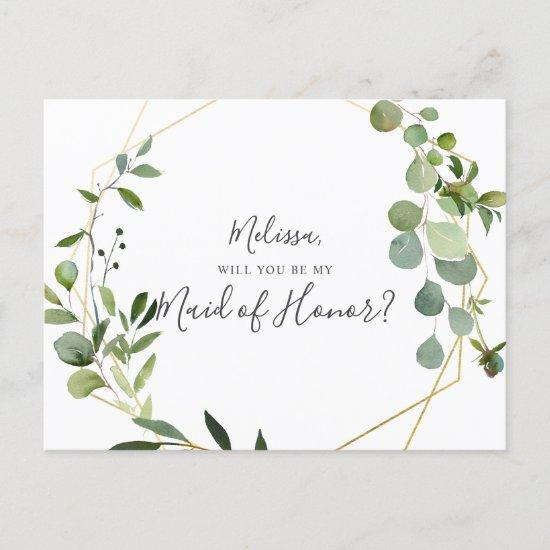 Will You Be My Maid Of Honor Greenery Eucalyptus Invitations Postcard