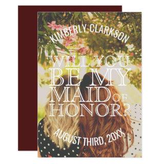 Will you Be My Maid of Honor? Invitation