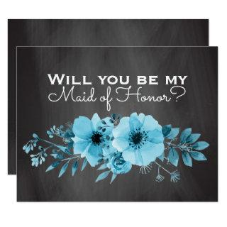 Will You Be My Maid of Honor | Maid of Honor Blue Invitation