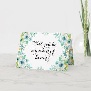 Will You Be My Maid of Honor Modern Vintage Floral Invitation