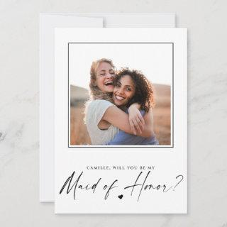 Will You Be My Maid Of Honor Proposal Photo Card