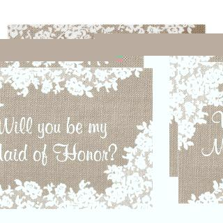 Will You Be My Maid of Honor? Rustic Burlap & Lace Invitation