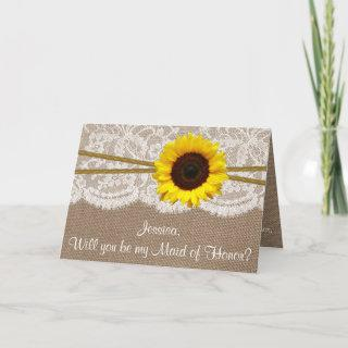 Will You Be My Maid of Honor? Rustic Sunflower Invitation