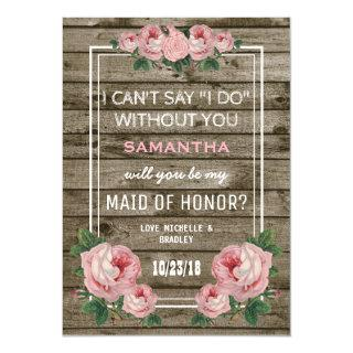 Will you be my Maid of Honor | Rustic Vintage Invitations