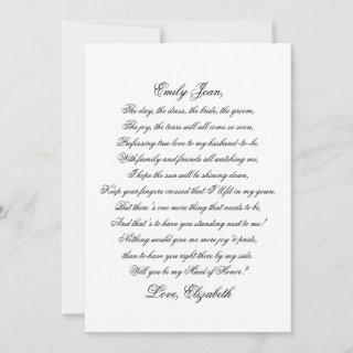 Will You Be My Maid of Honor Script Poem Card