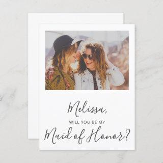 Will You Be My Maid of Honor Simple Photo  Postcard