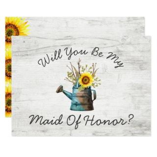 Will You Be My Maid Of Honor Sunflower Rustic Wood Invitation