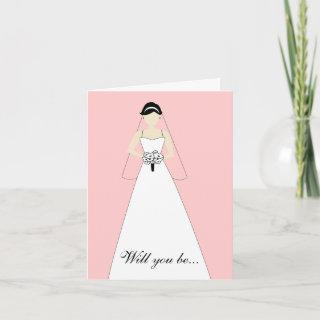 Will You Be My Maid of Honour? White Pink Invitations