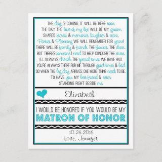 Will you be my Matron of Honor? Blue/Black Poem