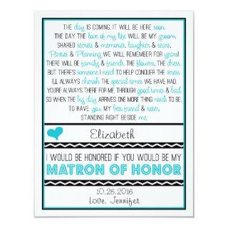 Will you be my Matron of Honor? Blue/Black Poem Invitation