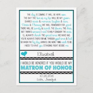 Will you be my Matron of Honor? Blue/Black Poem V2