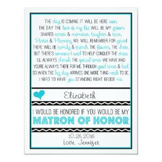 Will you be my Matron of Honor? Blue/Black Poem V2 Invitation
