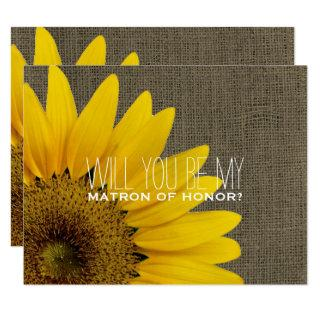 Will You Be My Matron of Honor Rustic Wedding Invitation