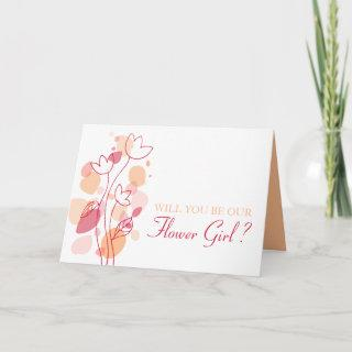 Will you be our Flower girl orange red confetti Card