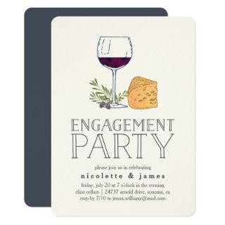 Wine and Cheese Engagement Party Invitations