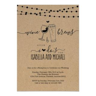 Wine & Brews After I Do Couple Wedding Reception Invitation