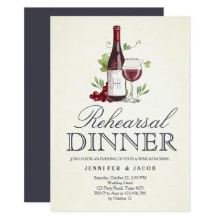 Wine Tasting Rehearsal Dinner Invitation Country