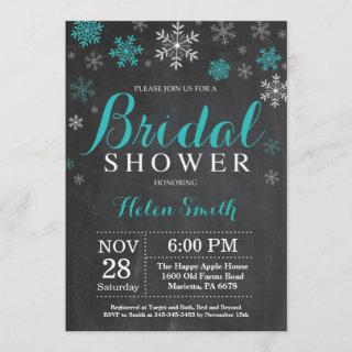 Winter Bridal Shower Teal and White Snowflake