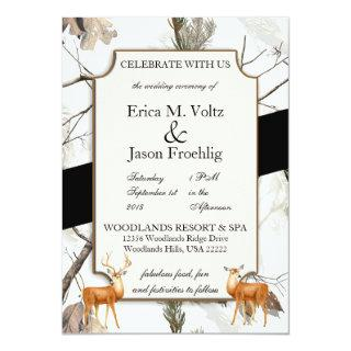 Winter Deer Camouflage Wedding Invitation 2