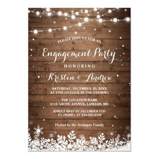 Winter Engagement Party Snowflakes String Lights Invitation