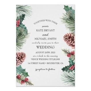 Winter floral blooming Wedding Invitations