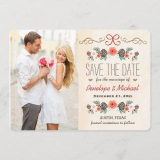 Winter Floral Pine Cone Christmas Save the Date