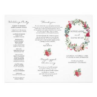Winter Floral Wreath Tri+Fold Wedding Program