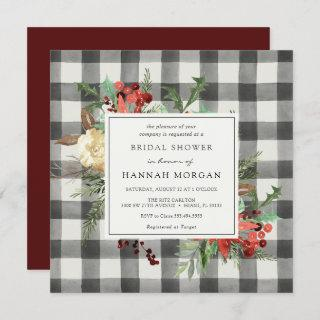 Winter Florals and Evergreen Plaid Bridal Shower