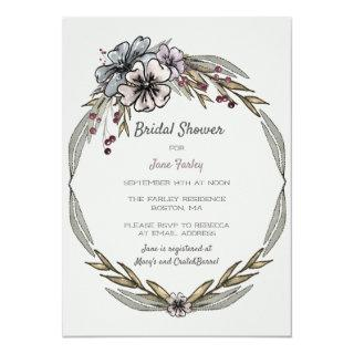 Winter Flowers Bridal Shower Invitations