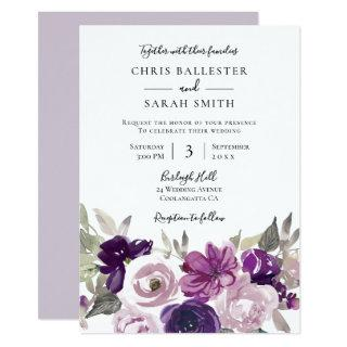 Winter Gray: Purple Lavender Floral Wedding Invitation