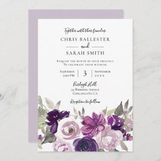 Winter Gray: Purple Lavender Floral Wedding Invitations