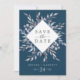Winter Greenery | Blue Save The Date