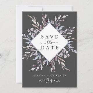 Winter Greenery | Gray Save The Date