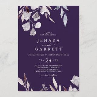 Winter Greenery | Plum Casual Wedding Invitation