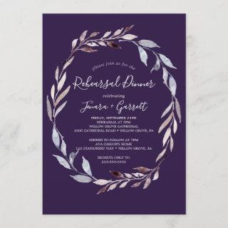 Winter Greenery Wreath | Plum Rehearsal Dinner Invitations