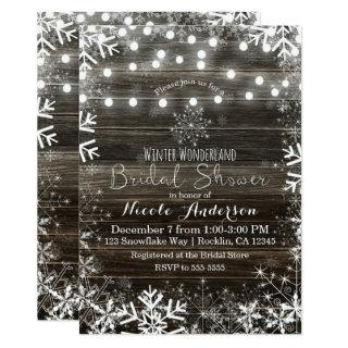 Winter Lights & Snowflakes Rustic Bridal Shower Invitations