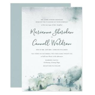 Winter Mystère II Formal Script Wedding Invitation