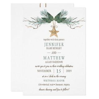 Winter Pine Branches Pine Cones Star Wedding Invitations